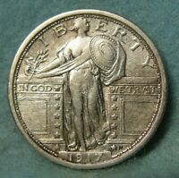 1917 TYPE 1 STANDING LIBERTY SILVER QUARTER XF   US COIN