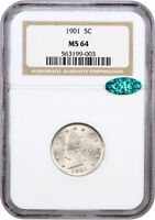 1901 5C NGC/CAC MINT STATE 64 - LIBERTY V NICKEL
