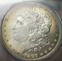 1897-P ICG MINT STATE 66 TONED MORGAN SILVER DOLLAR