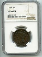 1847 BRAIDED HAIR LARGE CENT  VF 30 BN  NGC