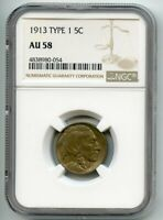 1913 TYPE 1 BUFFALO NICKEL  AU 58  NGC