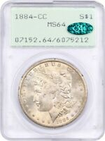 1884-CC $1 PCGS/CAC MINT STATE 64 OGH RATTLER HOLDER - FIRST GENERATION PCGS HOLDER