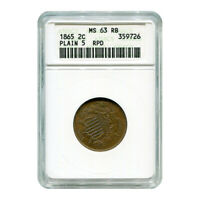 CERTIFIED TWO CENT 1865 PLAIN 5 MINT STATE 63RB ANACS