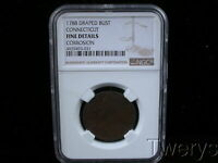 1788 COPPER DRAPED BUST CONNECTICUT NGC FINE DETAILS