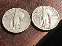A PAIR OF BEAUTIFUL FULL DATE STANDING LIBERTY QUARTERS, 1930-S AND 1929-D