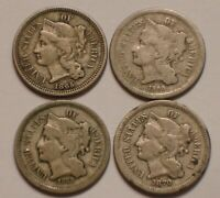 1865 1866 1868 & 1870 THREE CENT NICKELS 3 ORIGINAL STRONG D