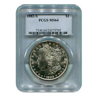 CERTIFIED MORGAN SILVER DOLLAR 1882-S MINT STATE 64 PCGS