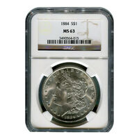 CERTIFIED MORGAN SILVER DOLLAR 1884 MINT STATE 63 NGC