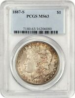 1887-S $1 PCGS MINT STATE 63 - COLORFUL TONING - MORGAN SILVER DOLLAR - COLORFUL TONING
