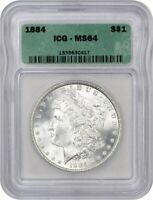 1884 $1 ICG MINT STATE 64 - MORGAN SILVER DOLLAR