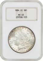 1884-CC $1 NGC MINT STATE 63 OH OLD NGC HOLDER - MORGAN SILVER DOLLAR - OLD NGC HOLDER