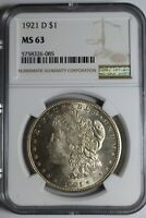 1921 D MORGAN SILVER DOLLAR NGC MINT STATE 63 26-085