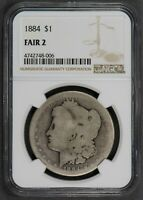 1884 $1 MORGAN SILVER DOLLAR, LOW BALL COIN NGC FAIR 2 Q043