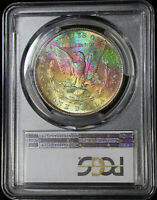 1881-S PCGS MINT STATE 63 MORGAN DOLLAR- RAINBOW TONED REVERSE--COLORFUL TONING