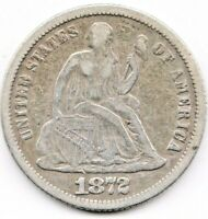 1872 SEATED LIBERTY DIME MPD, GREER 104 & FS-302, SPECIAL &  IN VF CONDITION