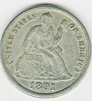 1891-S SEATED LIBERTY DIME -RPMM, FS-501007, GREER-101 & AWASH-5  BEAUTIFUL EXTRA FINE