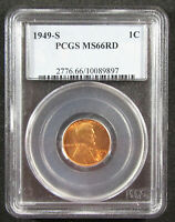1949-S 1C PCGS MINT STATE 66 RD.  PRETTY & FRESH RED LINCOLN CENT. 919031