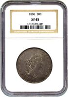 1806 50C NGC EXTRA FINE 45 O-114, POINTED 6, STEMS - BUST HALF DOLLAR - GREAT TYPE COIN