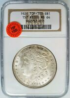 1921 SILVER MORGAN DOLLAR NGC MINT STATE 64 VAM 157 REEDS MINT ERROR TOP 100 COIN