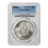 CERTIFIED MORGAN SILVER DOLLAR 1882-CC MINT STATE 64 PCGS
