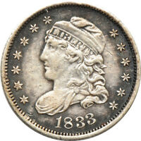 1833 CAPPED BUST HALF DIME EXTRA FINE  /  FINE, C00043090