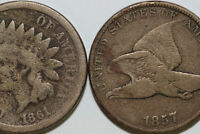 LOT OF TWO 1857 & 1861 COPPER NICKEL FLYING EAGLE & INDIAN CENT COINS NUM4264