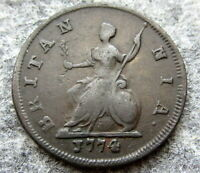 GREAT BRITAIN GEORGE III 1774 FARTHING US COLONIAL COIN COPPER