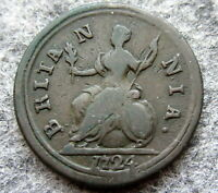 GREAT BRITAIN GEORGE I 1724 FARTHING US COLONIAL COIN COPPER BETTER GRADE