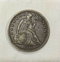 1872 P  SEATED LIBERTY SILVER DOLLAR DECENT GRADE COIN ORIGINAL UNCLEANED