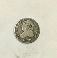 1824/2 10 CENTS CAPPED BUST DIME  LOWER GRADE COLLECTOR COIN