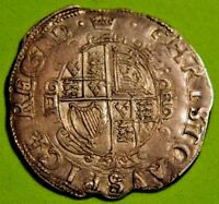 LY HIGH GRADE SILVER CHARLES 1ST TOWER MINT SILVER SHILLING 1635 MM CROWN