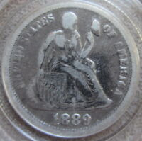 1889 SEATED LIBERTY DIME, SILVER