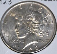 1923-P AU ALMOST UNCIRCULATED PEACE SILVER DOLLAR $1 COIN