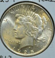 1925-P MS UNCIRCULATED/UNC  PEACE SILVER DOLLAR $1 COIN