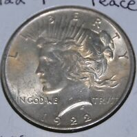 1922-P AU ALMOST UNCIRCULATED PEACE SILVER DOLLAR $1 COIN