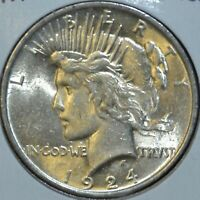 1924-P AU ALMOST UNCIRCULATED PEACE SILVER DOLLAR $1 COIN