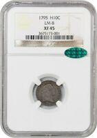 1795 H10C NGC/CAC EXTRA FINE 45 LM-8 CHOICE EARLY HALF DIME - EARLY HALF DIMES