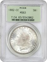 1882-CC $1 PCGS MINT STATE 63 OGH OLD GREEN LABEL HOLDER - MORGAN SILVER DOLLAR