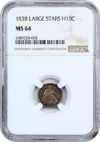 1838 NO DRAPERY, LARGE STARS H10C NGC MINT STATE 64 - SEATED HALF DIME
