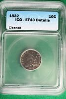 1832 ICG EXTRA FINE 40 DETAILS CAPPED BUST   DIME B10268