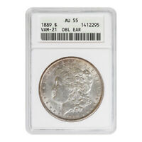 CERTIFIED MORGAN SILVER DOLLAR 1889 VAM-21 DOUBLE EAR AU55 ANACS