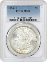 1884-O $1 PCGS MINT STATE 62 - MORGAN SILVER DOLLAR