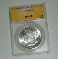 1890 S MORGAN SILVER DOLLAR - MINT STATE 62 - ANACS. BETTER DATE GREAT DETAIL