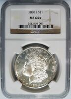 1880 S SILVER MORGAN DOLLAR NGC MINT STATE 64 STAR DEEP MIRRORS PL COIN