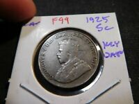 F99 CANADA 1925 5 CENTS KEY DATE
