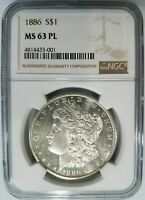 1886 SILVER MORGAN DOLLAR NGC MINT STATE 63 PL GRADED COIN LUSTER DEEP MIRRORS