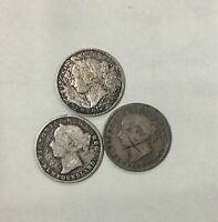 1865 1876 H 1888 NEWFOUNDLAND  10 CENT SILVER TRIO OF BETTER DATES MIXED GRADE