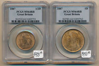 EXCLNT   1887 BRITISH HALFPENNY & PENNY BOTH PCGS MS64 RB