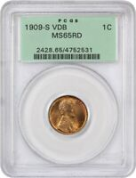 1909-S VDB 1C PCGS MINT STATE 65 RD - BEAUTIFUL GEM KEY DATE - LINCOLN CENT