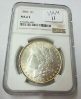 1888-P MORGAN DOLLAR NGC MINT STATE 63 VAM-11 DOUBLED EAR & CLASH LINE BY NECK